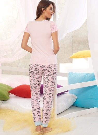Sevim Baskılı Pijama Takımı Pembe